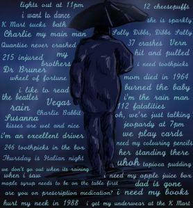 rain man with wrods